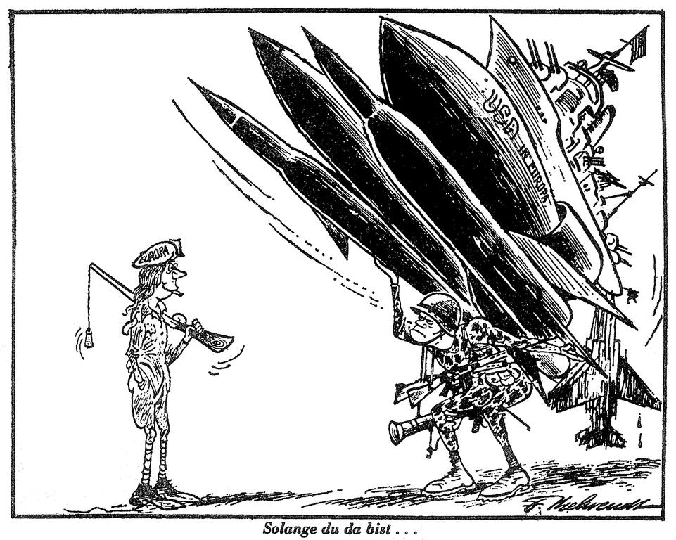 Cartoon by Behrendt on US military power (25 June 1974)
