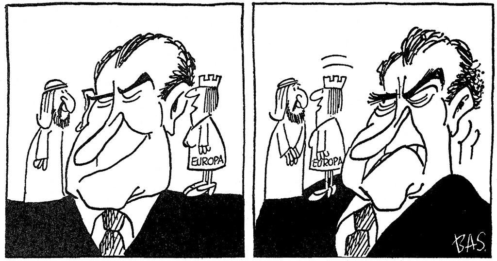 Cartoon by Bas on the international policy of the EEC (20 March 1974)