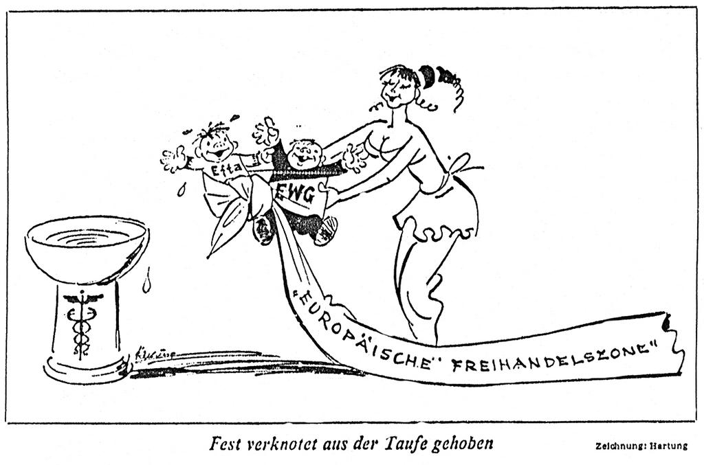 Cartoon by Hartung on the relations between EEC and EFTA (24 July 1972)