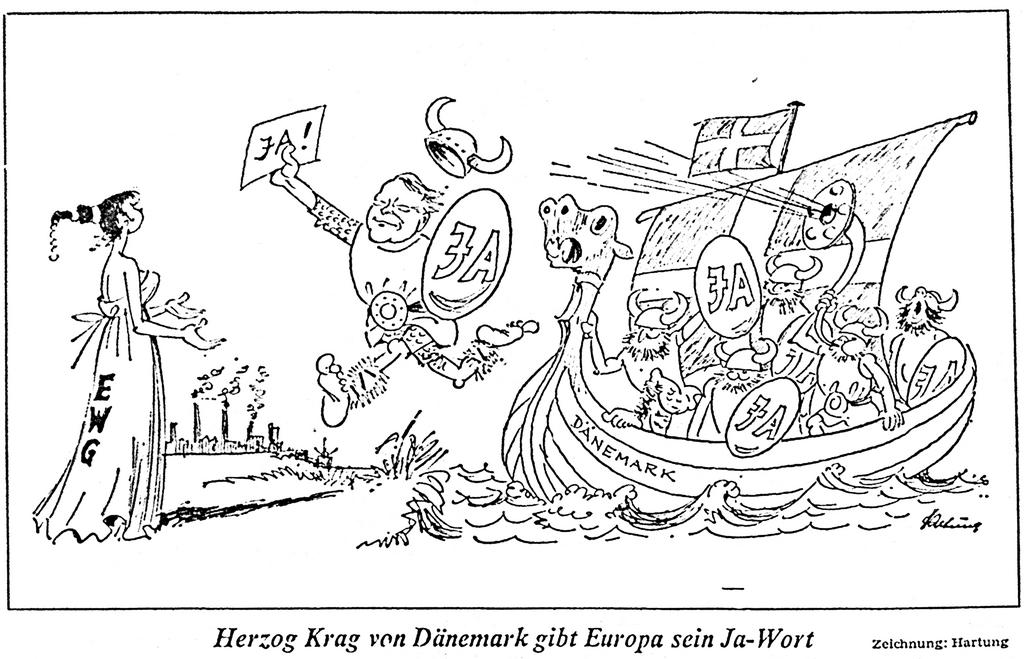 Cartoon by Hartung on Denmark's accession to the EC (4 October 1972)