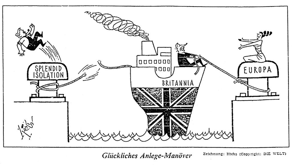 Cartoon by Hicks on the rapprochement between the United Kingdom and Europe (30 October 1971)