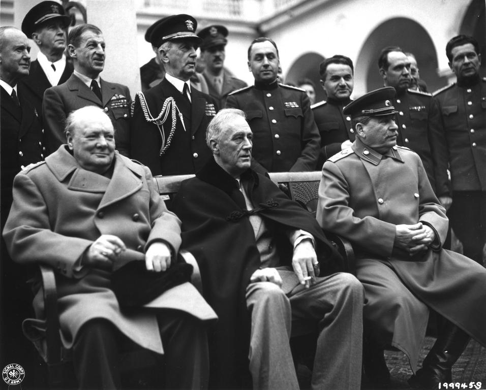 Churchill, Roosevelt and Stalin in Yalta (4 to 11 February 1945)