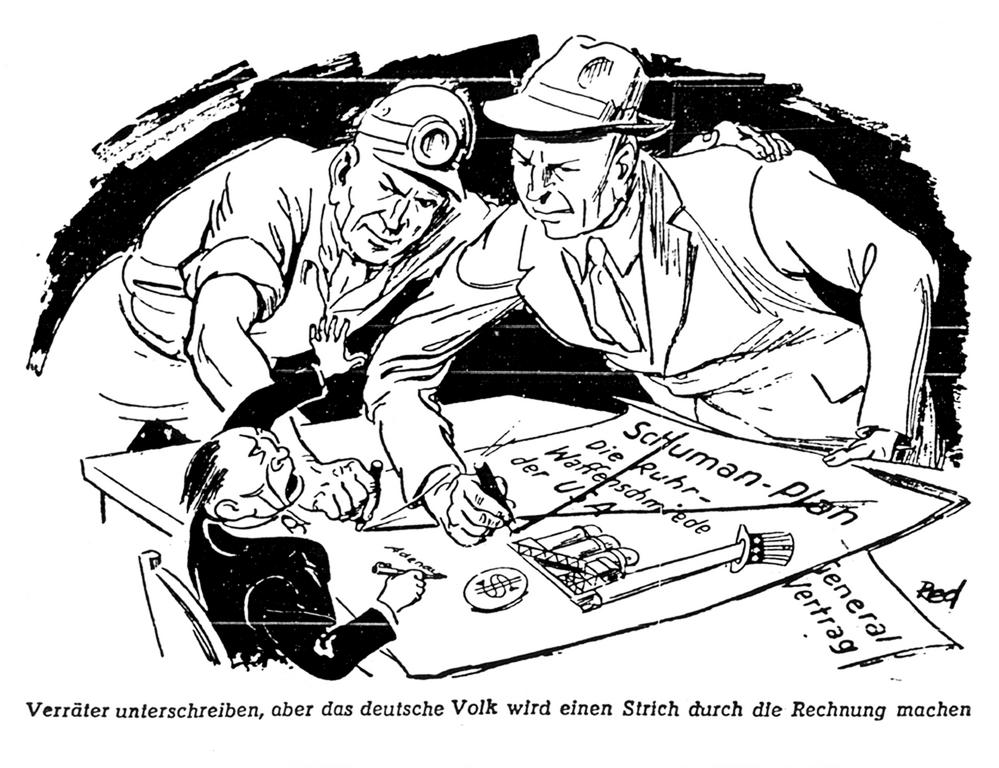 Cartoon by Red on the Schuman Plan (10 January 1952)