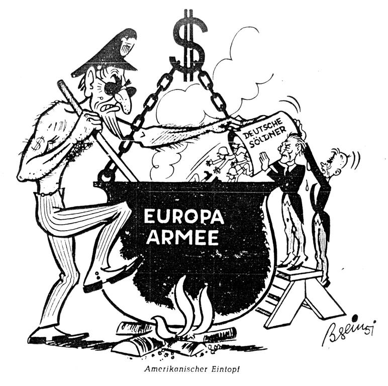 Cartoon on the plan to create a European army (17 February 1951)