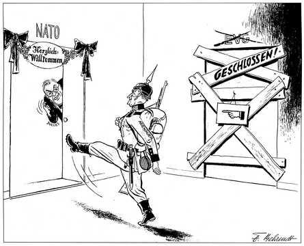 Caricature de Behrendt sur l'échec de la CED (1954)
