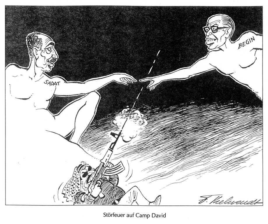 Cartoon by Behrendt on the Camp David Peace Accords (1977)