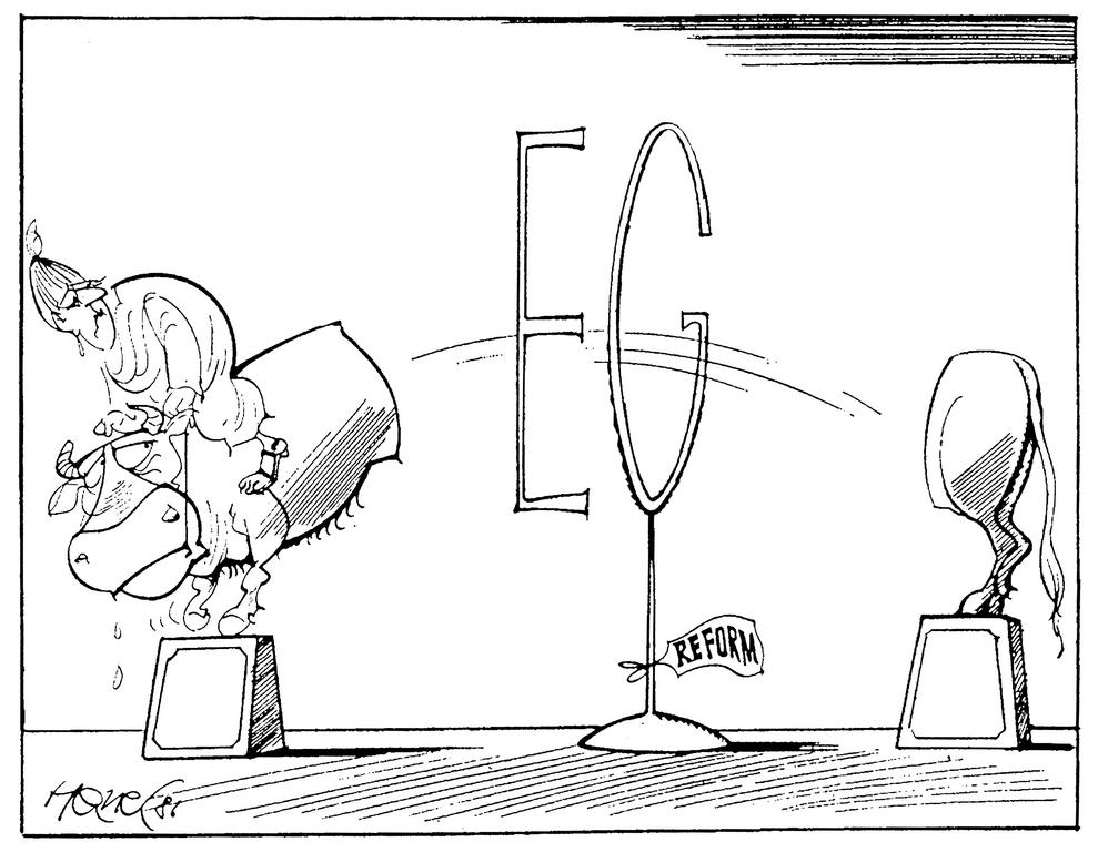 Cartoon by Hanel on the Single European Act (18 February 1986)