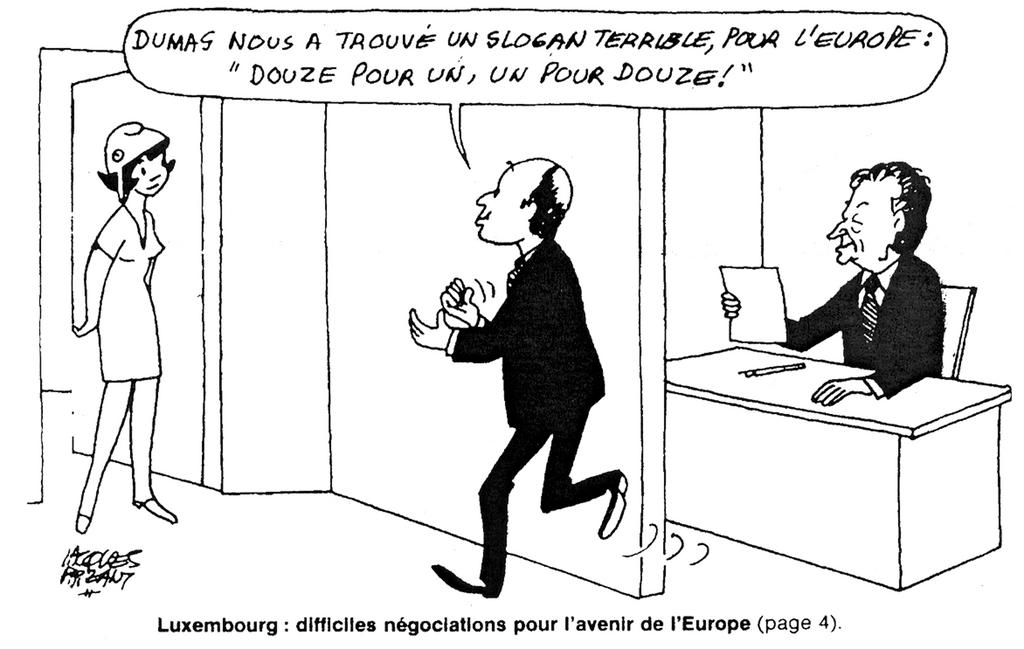 Cartoon by Faizant on the difficult revival of the European integration (3 December 1985)