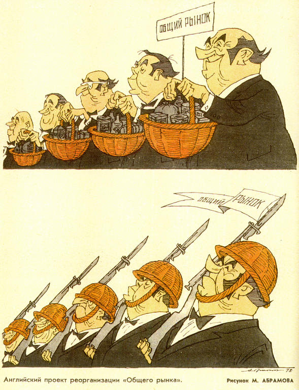 Cartoon by Abramov on the United Kingdom and the EEC (February 1973)