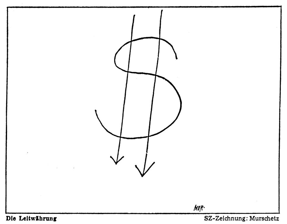 Cartoon by Murschetz on the effects of the suspension of the dollar's convertibility into gold (17 August 1971)