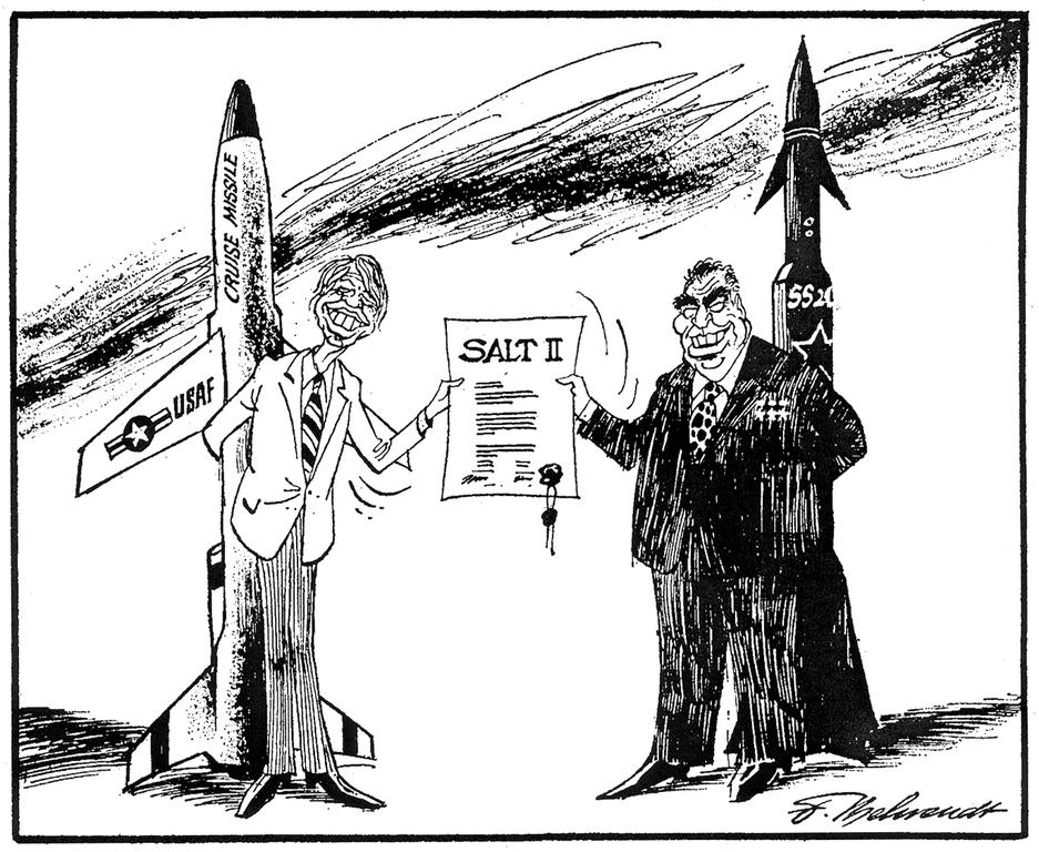 Cartoon by Behrendt on the SALT II disarmament agreement (4 May 1979)