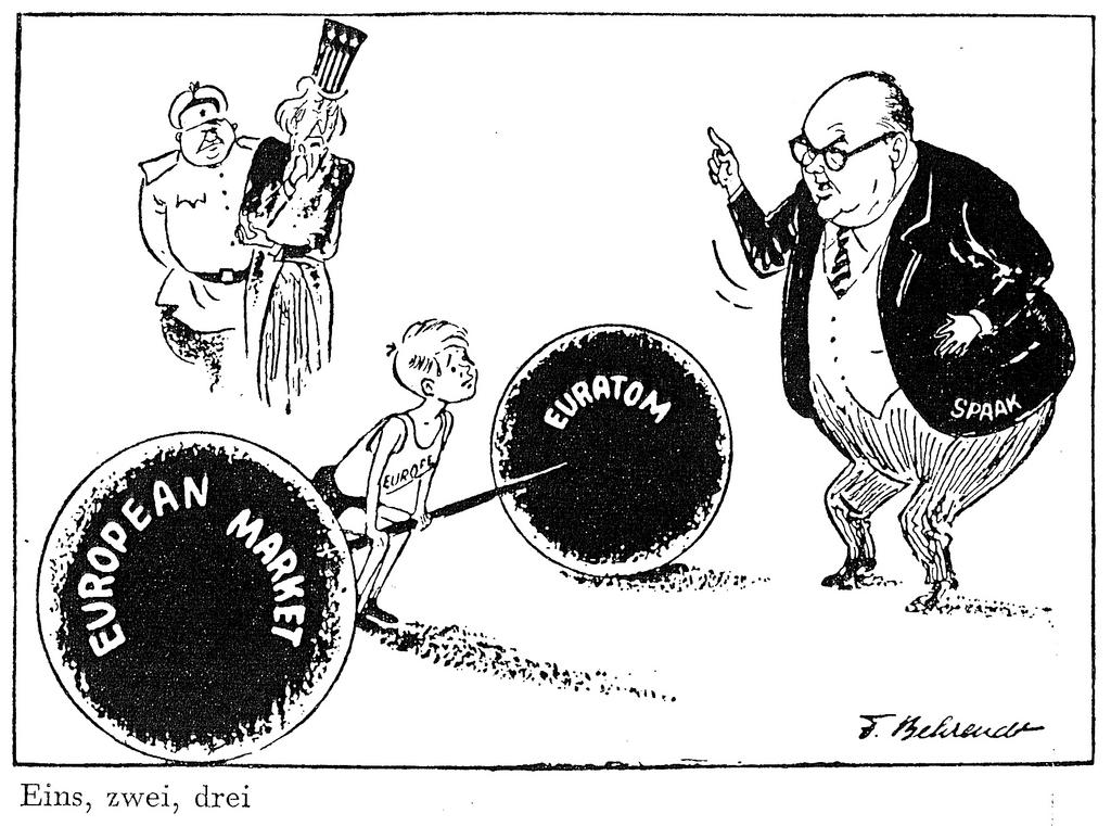 Cartoon by Behrendt on Paul-Henri Spaak's role in the preparations for the Rome Treaties (17 February 1957)