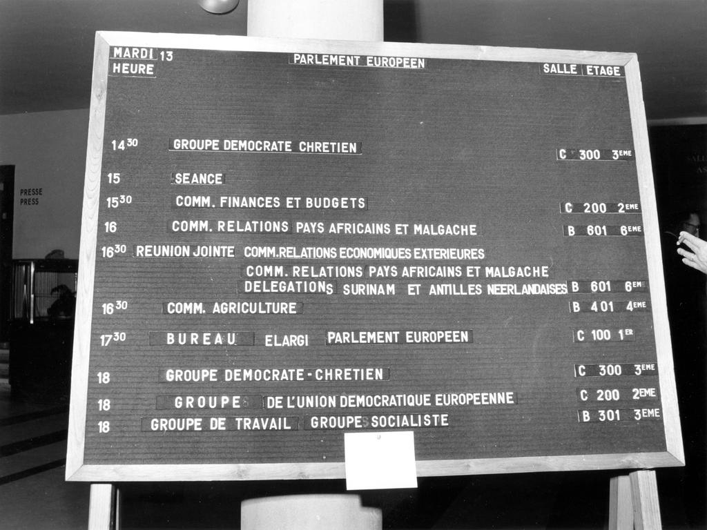 Programme of meetings of the European Parliament (Strasbourg, 13 June 1972)