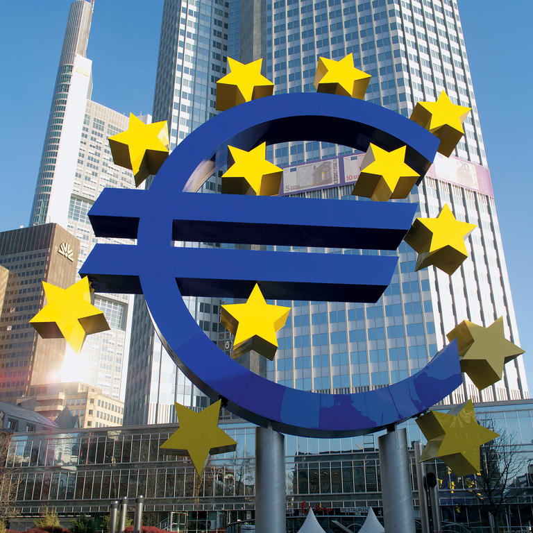 Euro symbol outside the offices of the European Central Bank
