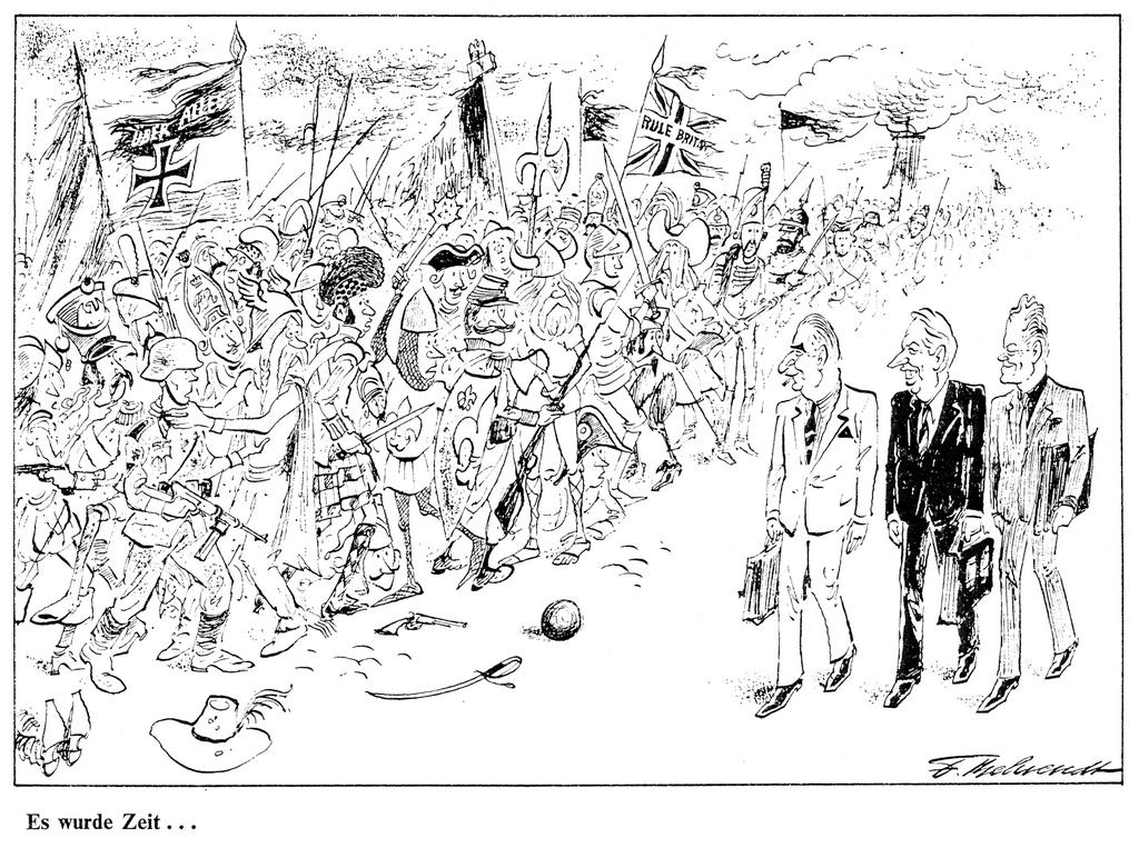 Cartoon by Behrendt on the United Kingdom's accession to the EC (October 1971)