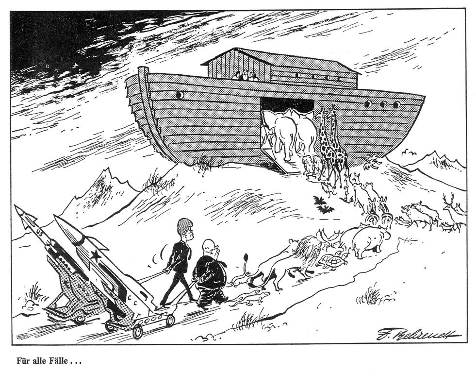 Cartoon by Behrendt on the Cuban Missile Crisis (October 1962)