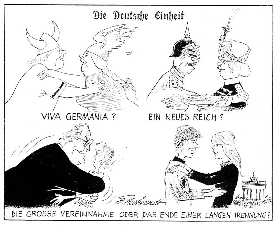 Cartoon by Behrendt on German reunification (1990)