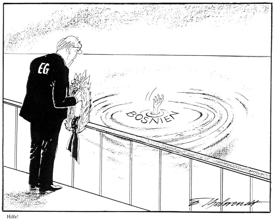 Cartoon by Behrendt on the EU and Bosnia (1992)