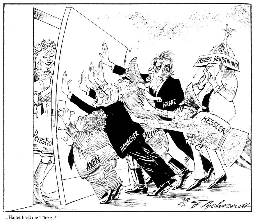 Cartoon by Behrendt on the German Democratic Republic and perestroika (1989)