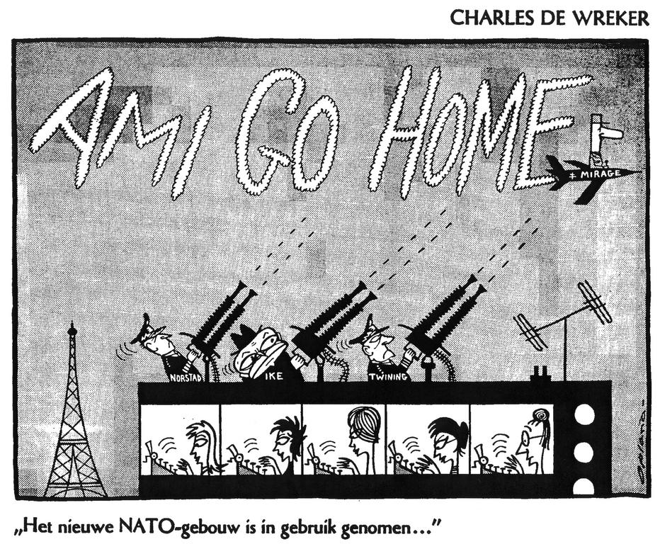 Cartoon by Opland on the relations between France and NATO (19 December 1959)