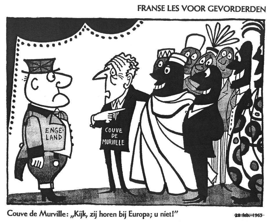 Cartoon by Opland on the French veto regarding the British membership to the EC (1963)