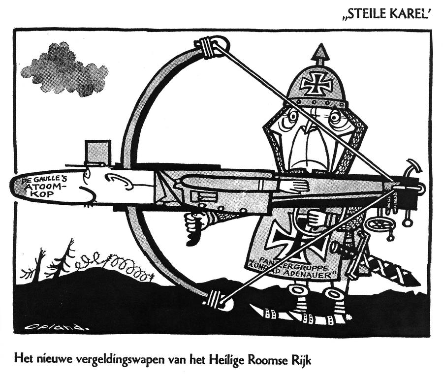 Cartoon by Opland on Franco-German defence policy (17 February 1962)