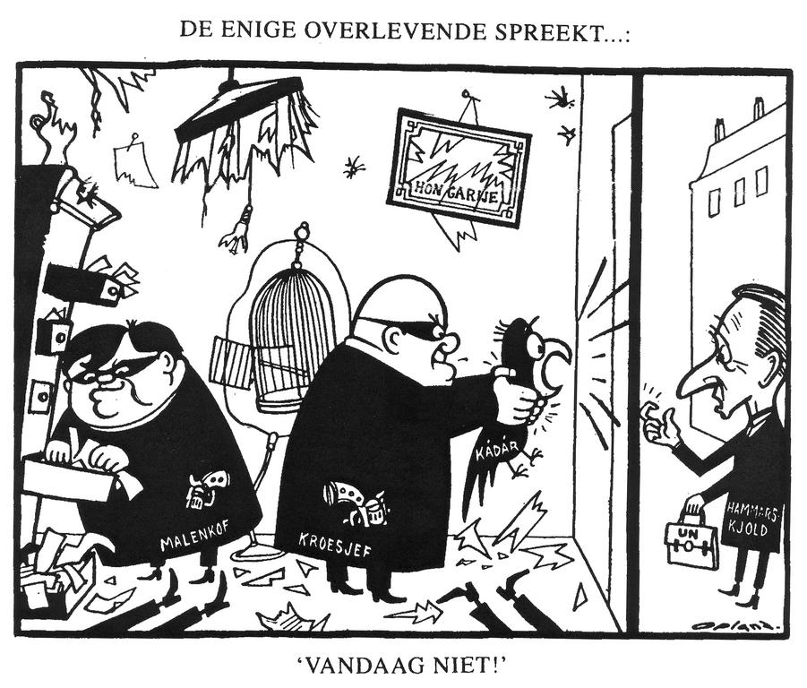 Cartoon by Opland on the Hungarian Revolt (8 December 1956)