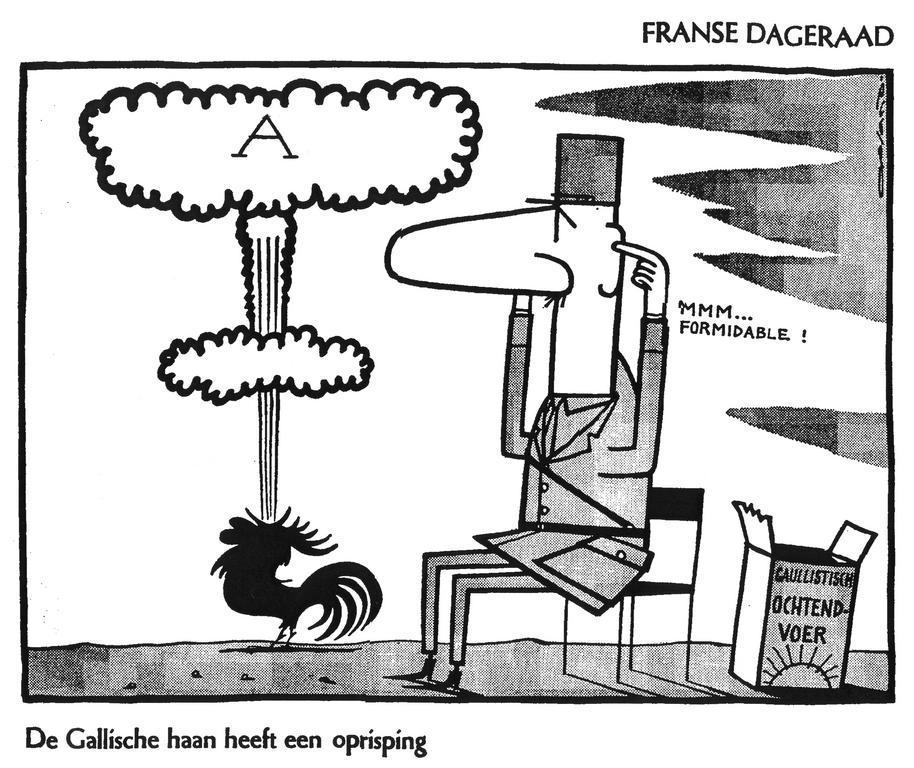 Cartoon by Opland on the French nuclear policy (11 November 1959)