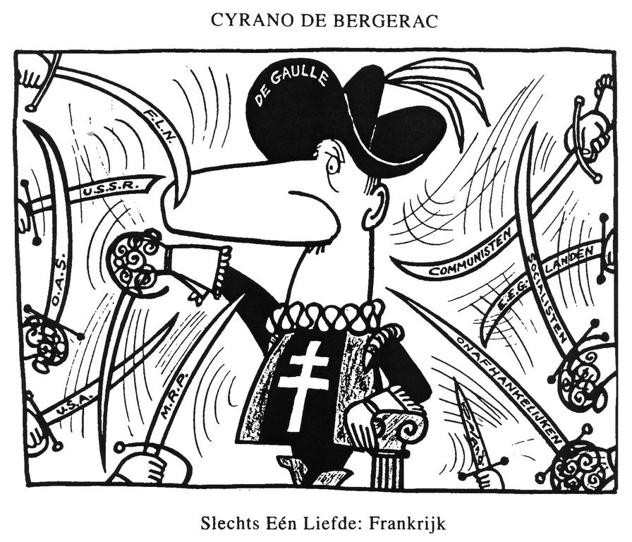 Cartoon by Opland on French Foreign Policy (22 February 1962)