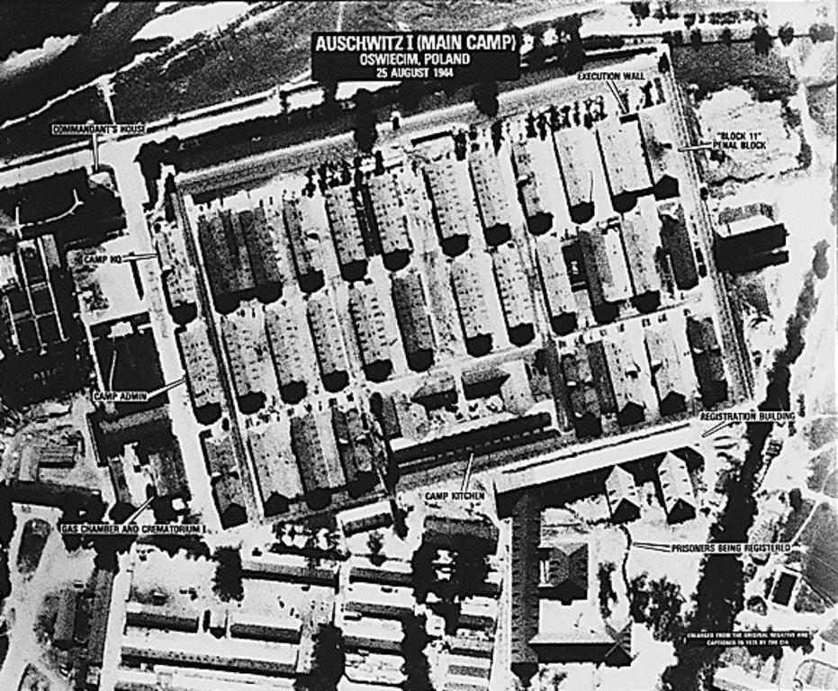 Aerial view of the Auschwitz concentration camp (Poland, 25 August 1944)