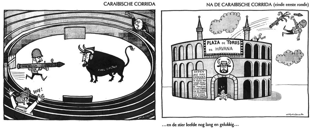 Cartoons by Opland on the Cuban Crisis (20 and 22 April 1961)