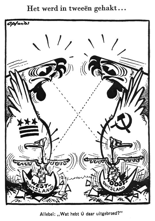 Cartoon by Opland on the political future of Germany (16 April 1949)