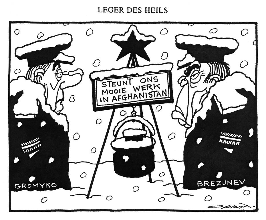 Cartoon by Opland on the Soviet military intervention in Afghanistan (22 December 1980)