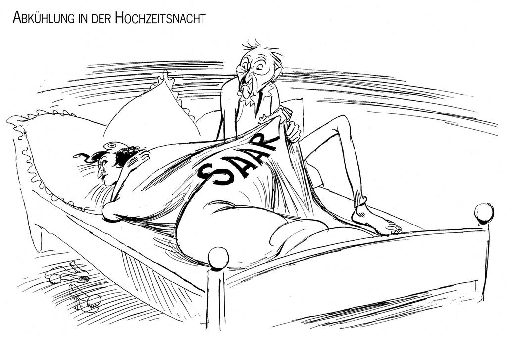 Cartoon by Lang on the Saar question (2 February 1952)
