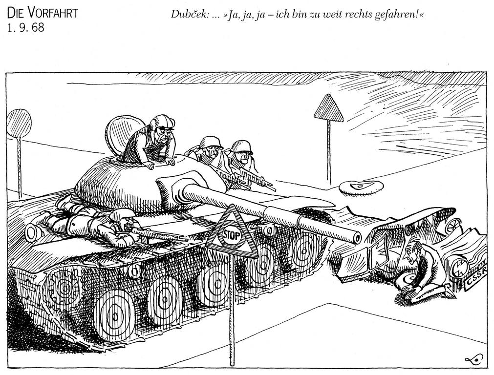 Cartoon by Lang on the invasion of Czechoslovakia (1 September 1968)