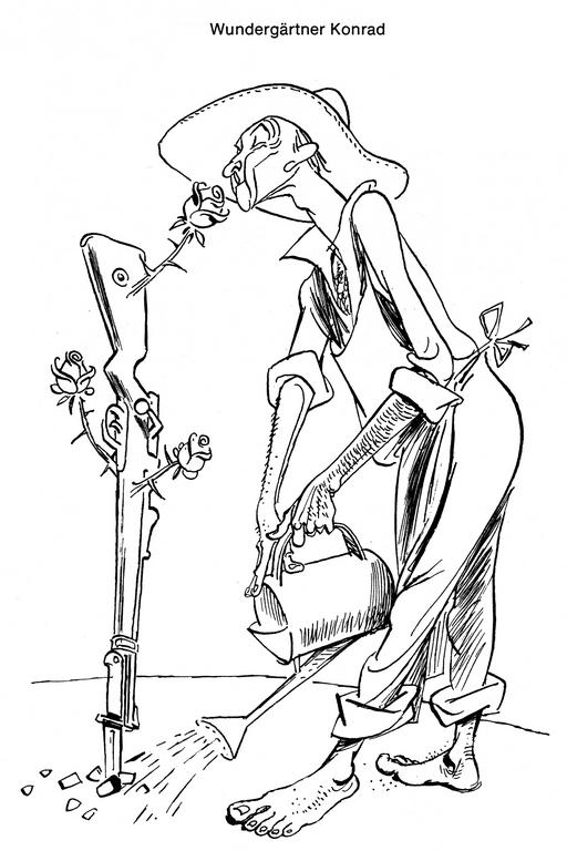 Cartoon by Lang on the action taken by Konrad Adenauer in support of German rearmament