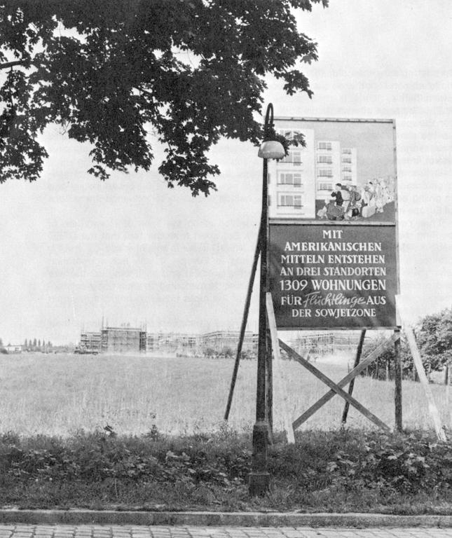 Sign in front of a construction site in Germany (1950)