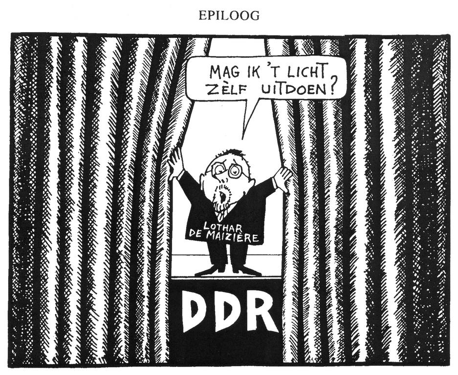 Cartoon by Opland on the end of the German Democratic Republic (25 July 1990)