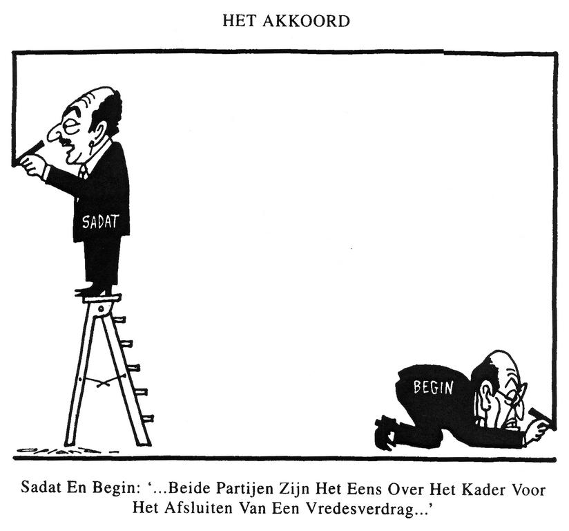 Cartoon by Opland on the Camp David Accords (21 March 1979)