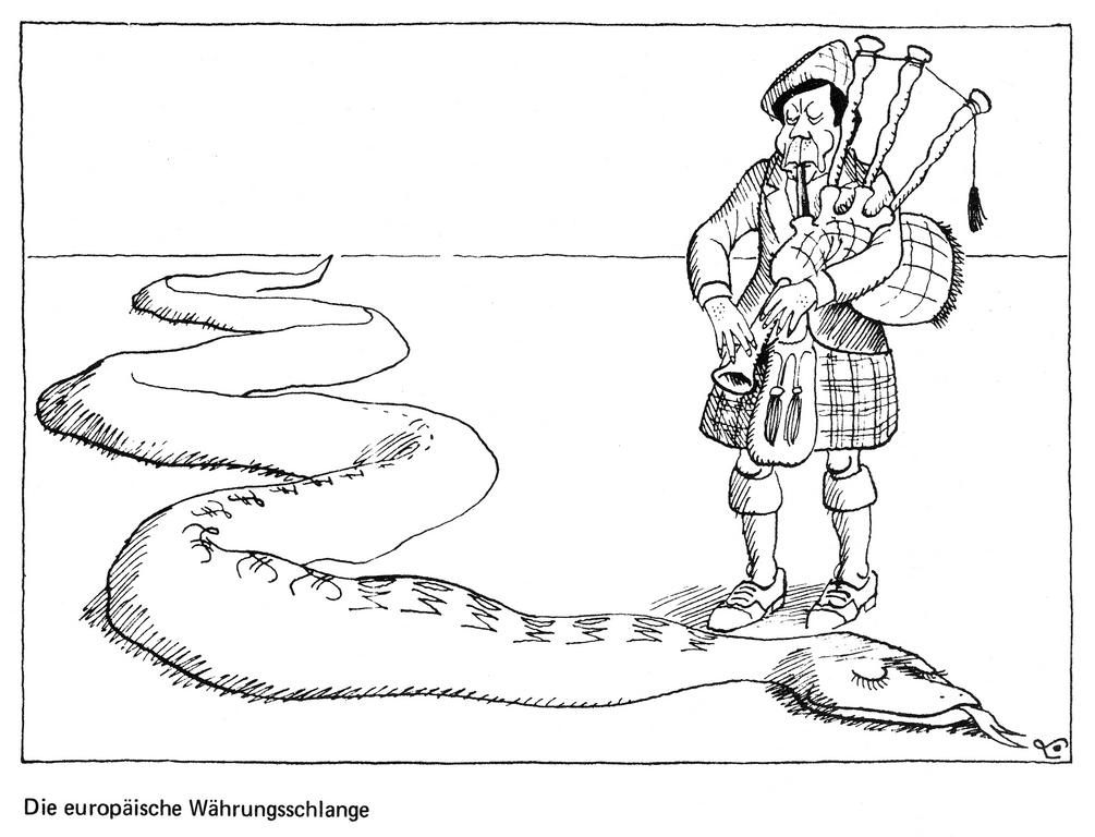 Cartoon by Lang on the end of the European currency snake (1978)