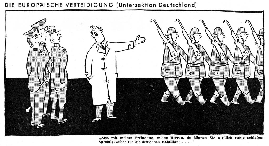 Cartoon on the EDC and the question of German rearmament (November 1949)