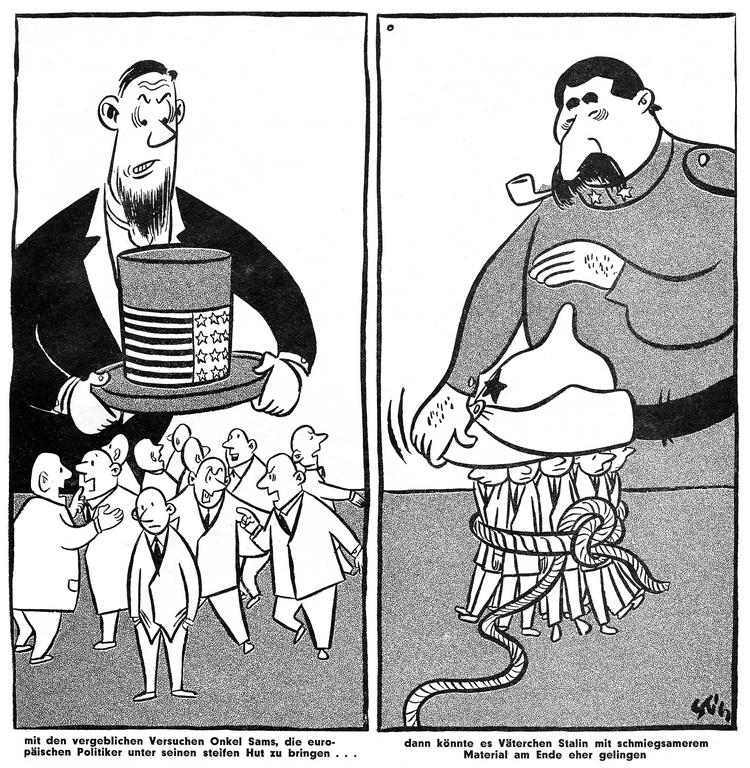 Cartoon on the foreign policy of the United States and the Soviet Union (January 1951)
