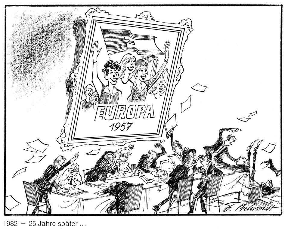 Cartoon by Behrendt on European cooperation (1982)