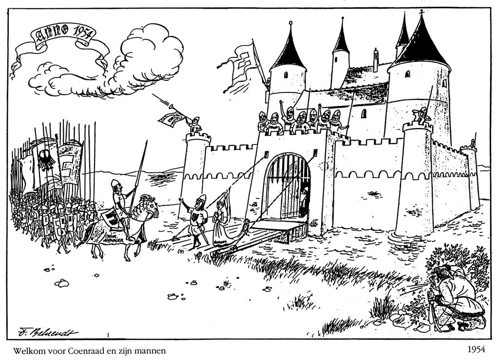 Cartoon by Behrendt on the FRG and NATO (1954)