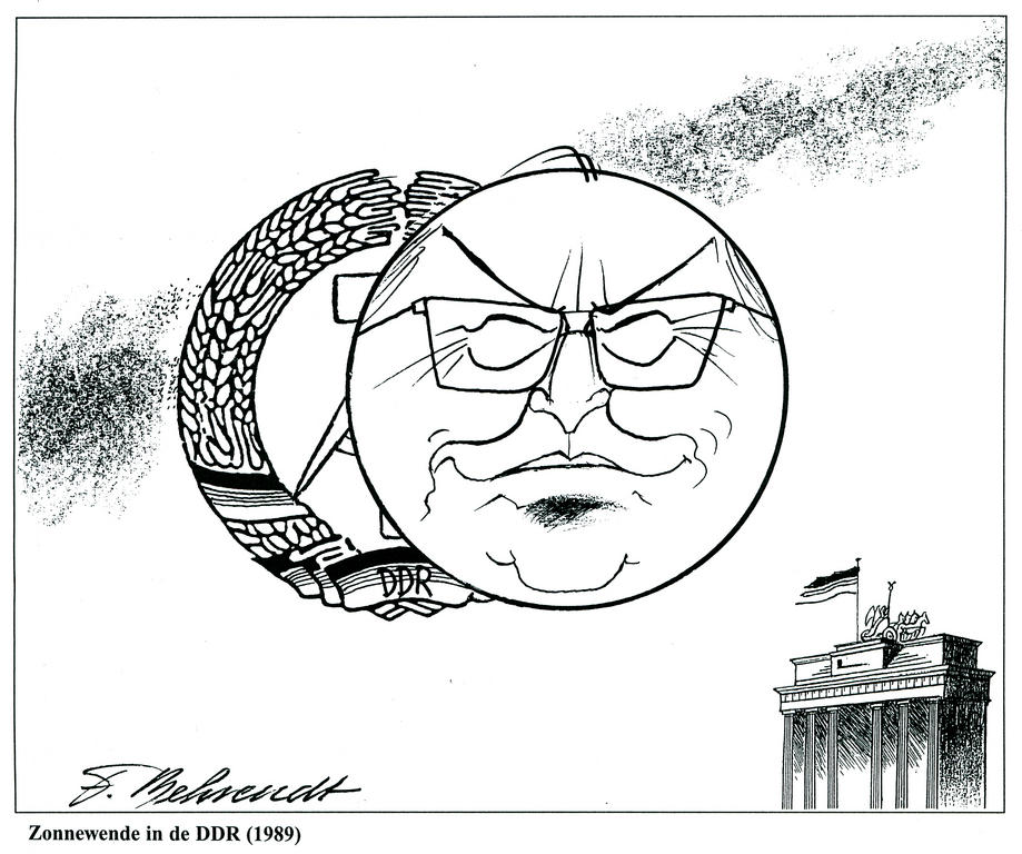 Cartoon by Behrendt on the collapse of the German Democratic Republic (1989)