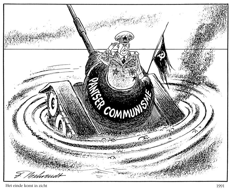 Cartoon by Behrendt on the end of the Communist regime in the USSR (1991)
