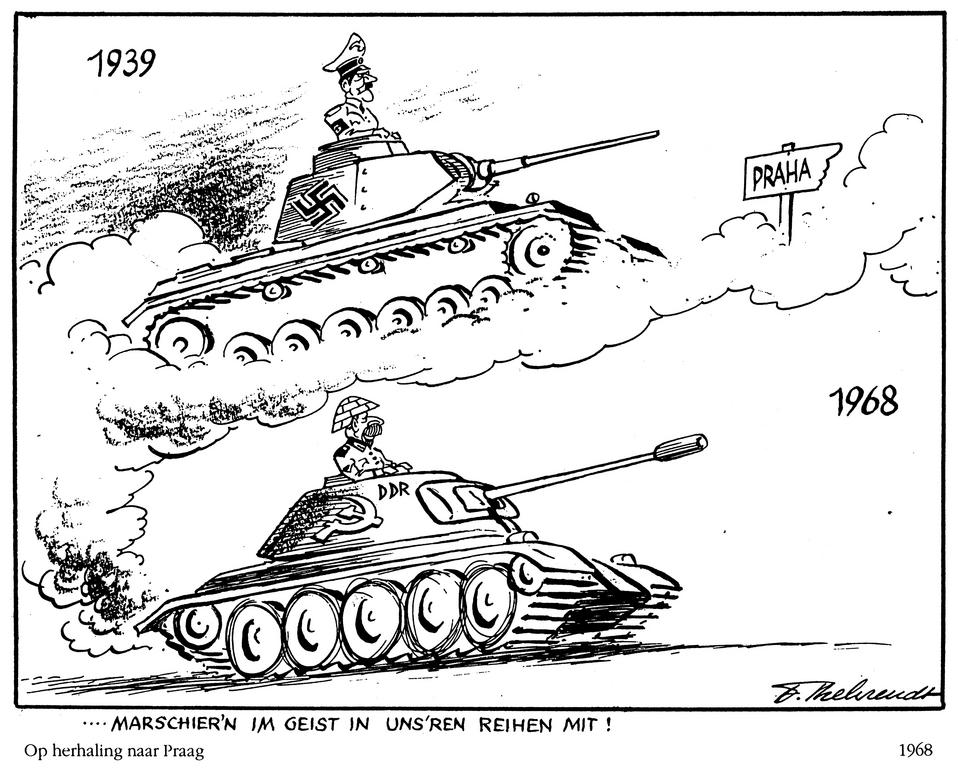 Cartoon by Behrendt on the invasion of Czechoslovakia (1968)
