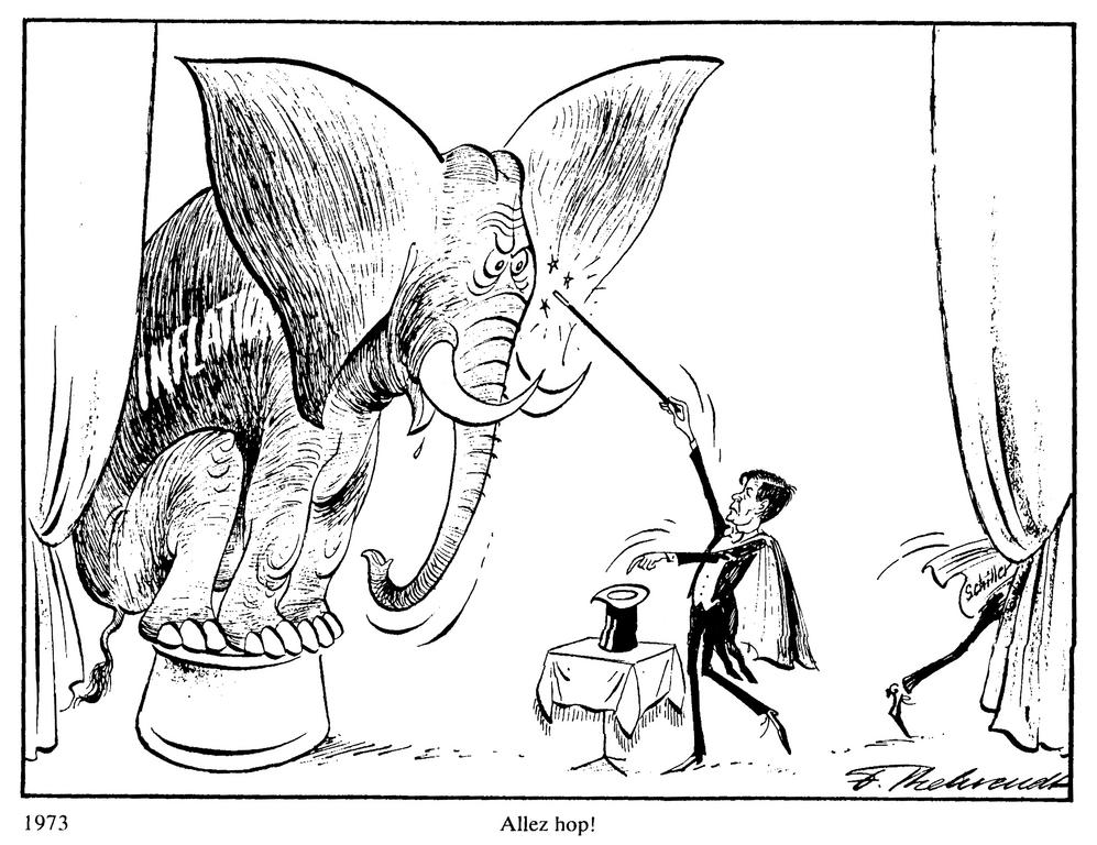 Cartoon by Behrendt on the monetary crisis in Europe (1973)