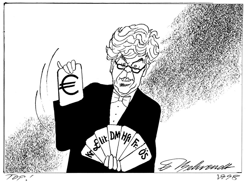Cartoon by Behrendt on the euro (1998)