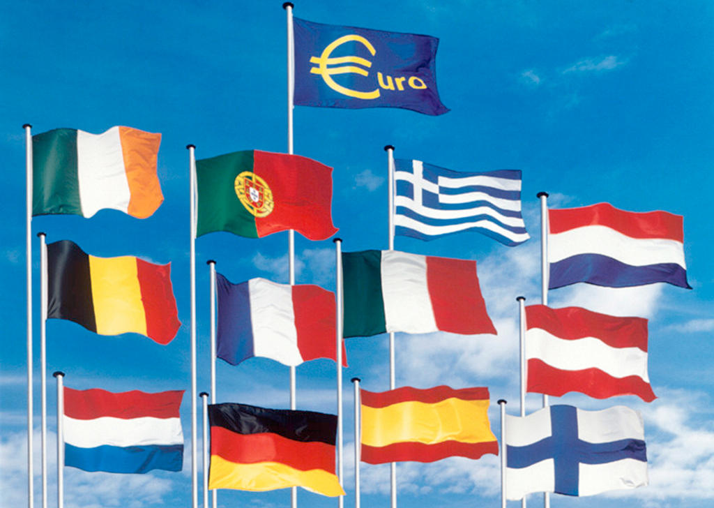 Flags of the 12 countries in the euro zone
